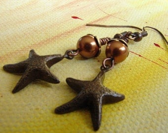 Brown Copper PEARL Starfish Earrings: Free Shipping