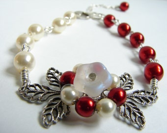 Bracelet, Gift, Matte Glass Flower, Cinnamon Red and Cream Pearls on Oxidized Silver Leaf filigree Bracelet