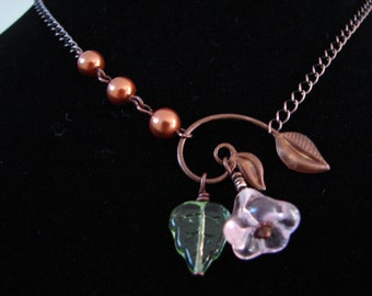 Pink Copper Winding Leaf Drop Necklace: Free Shipping
