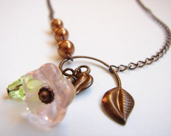 Pink Copper Winding Leaf Drop Necklace, Blooming Flower, Nature Jewelry,Pink Flower, Green Glass Leaf Necklace, Brown Copper pearls