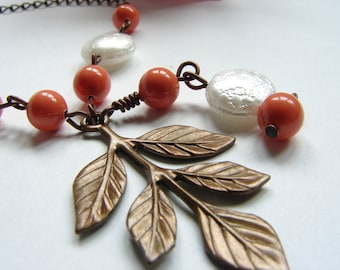 Orange Pearls and White  Glass Coin on a Vintage Leaf Necklace, Branch Necklace: Free Shipping