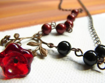 Red flower necklace, black pearl, red pearl, Free Shipping: Bordeaux, Black, and Red Flower Necklace