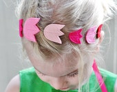 Pink Tulip Headband for Easter/Spring