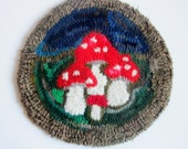 Trivet- Hand Hooked Mushrooms