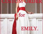 Custom Order for Emily/Fashion wedding dress made of mikado with red taffeta tail