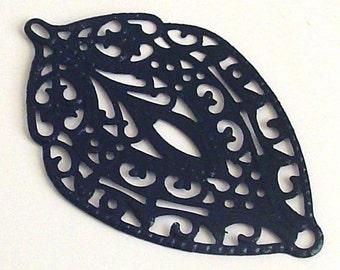 SALE - 6pc-  - Black color - Hand painted Filigree, leaf drop, leaf connector, pendant, link and more...
