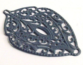 SALE - 6pc- Gray -  Hand painted Filigree stamping, faux patina leaf drop, leaf connector, pendant, link and more...