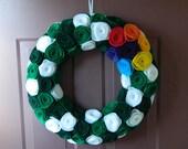 St. Patrick's Day Wreath with Rainbow Accent - All Felt Flowers -  Wreath