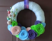 Easter Wreath - Spring Wreath -  Yarn Wrapped Wreath with Eco-Friendly Felt Flowers, Eggs, and Pink Glitter Accents