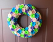 Easter Wreath - Spring Wreath -  Wreath Covered in Small Eco-Friendly Felt Flowers in Pink, Purple, Blue, Cream and Green