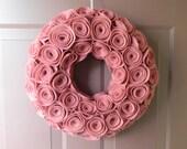 Pink Wreath - Summer Wreath - Year Round Wreath in Blush Pink Felt Rosettes
