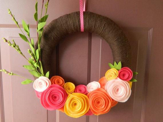 Http Etsy Com Listing 95762307 Summer Wreath Yarn Wrapped Wreath Bright