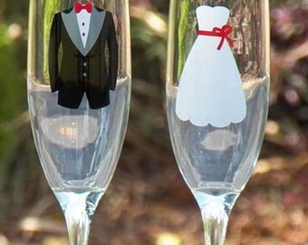 Bride & Groom Champagne Toasting Flutes - Tux and Dress Set