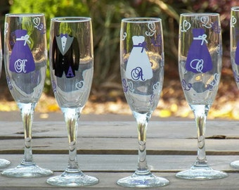 2 Personalized Bridesmaid Champagne Flute Set -- Great Bride, Groom, Bridesmaid Gifts