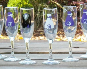 8 Personalized Bridesmaid Champagne Flute Set, Customized for Your Wedding