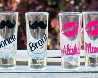 10 Personalized Mustache and Lips Wedding Shot Glasses- Fun Bridesmaid/Groomsmen Gifts