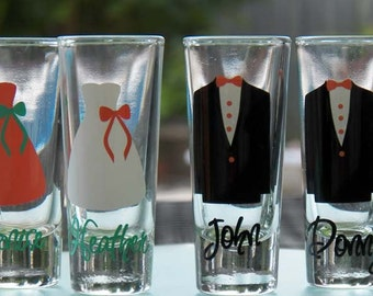 4 Personalized Bridesmaid and Groomsman Shot Glasses- Great Bridesmaid Gift and Groomsman Gift