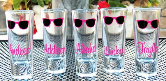 4 Personalized Sunglasses Wedding Shot Glasses- Oh LA LA fun, Great Bridesmaid Gifts - Great Bachelorette Party Gifts