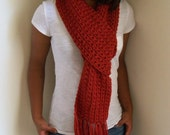 Scarf with fringe - Terra Cotta -  hand crocheted