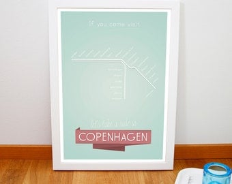 "Retro Copenhagen public transportation print, Denmark metro lines retro poster, Mid century subway art print, 20cm x 30cm, 8"" x 12"""