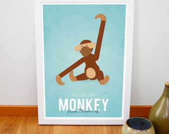 "Retro Kay Bojesen monkey print from Denmark, Iconic danish design retro poster, Nursery art, Mid century Scandinavia, 8"" x 12"", 20cm x 30cm"