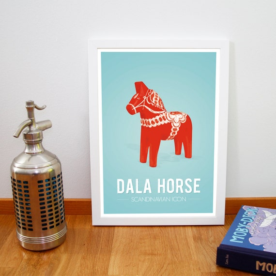 "Retro poster, Dala horse print from Scandinavia, Iconic Swedish poster, Nursery art, Mid century dalecarlian print, 20 cm x 30 cm, 8"" x 12"""