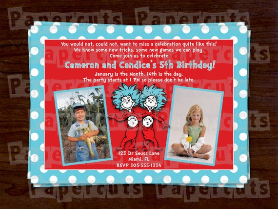 Personalized Dr. Seuss Thing 1 and Thing 2 Twins Happy Birthday Party Invitation (4 Layout Options)