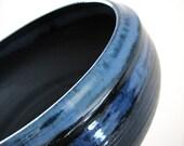 Midnight Blue and Gunmetal Grey Extra Large Ceramic Serving Bowl
