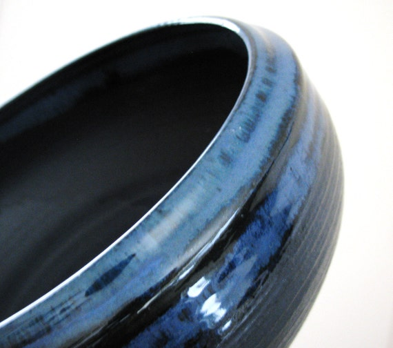 Midnight Blue and Gunmetal Grey Extra Large Ceramic Serving Bowl