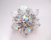 Vintage 1950s Aurora Borealis Crystal Cluster Brooch - Pin tipped with Rhinestones
