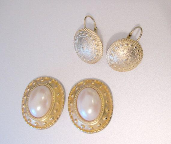 1980s Brushed Gold Earrings 2 Pair of Vintage Roman Design Pearl Crest Shield Earrings