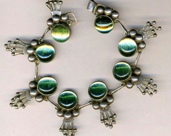 Sterling Bracelet TAXCO with Light Green Cabachons  Item No: 14915