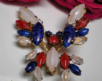 BROOCH Butterfly Red, White and Blue Trembler      Item No: 16128