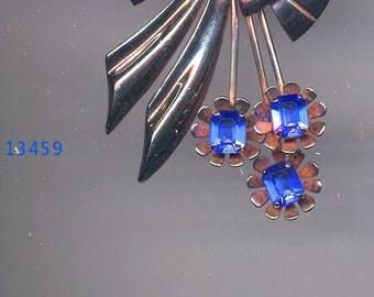 S/S Art Deco Style Brooch/ER with Blue Sets    Item No: 13459