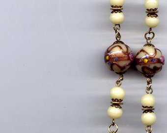 Necklace Vintage Cream and Pink Applied Venitian Beads      Item No: 5939