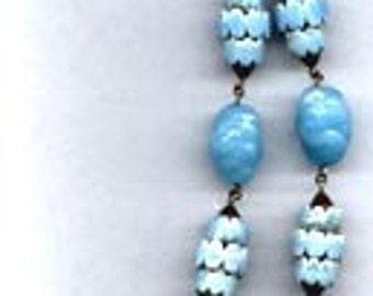 Necklace    Vintage  Aqua Glass, Aqua Ceramic & Blue Crystal     Item No: 4053
