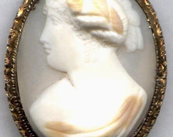 ON SALE CAMEO  Brooch Left Facing High Relief    Item No: 10001