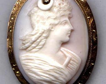 CAMEO  Brooch Goddess Diana 10K with Diamond   Item No: 10212