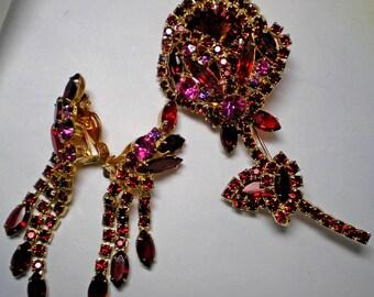 D&E aka Juliana Red Rivoli  Tulip Brooch and Earrings    Item No: 15991