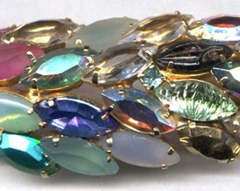 Multi Color Navettes Brooch    Item No: 3806