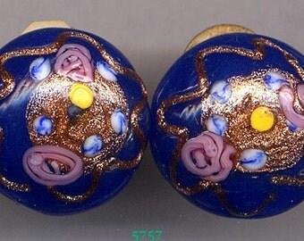 Blue, Pink, Yellow Venitian Earrings     Item No: 5757