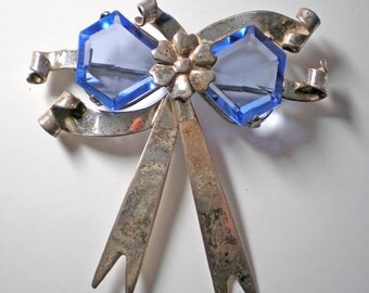 Vintage Faceted Blue Glass and Sterling Bow Brooch     Item No: 16288