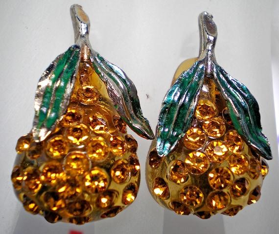 Forbidden Fruit Amber Lucite Pear Earrings   Item No: 16740
