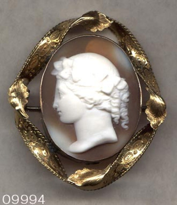 Custom Cameo Resin Pins Diy: CAMEO Brooch APOLLO Hand Carved Shell In Twist Frame By