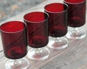 Vintage Ruby Red Glass Goblets Set of 4 CAVALIER Arcoroc Luminarc France