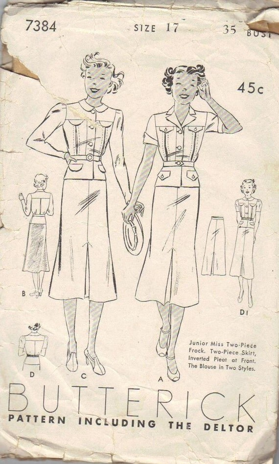 Classic Style Vintage Sewing Pattern 1930s Woman's Dress Skirt Two Piece Jacket Style Top
