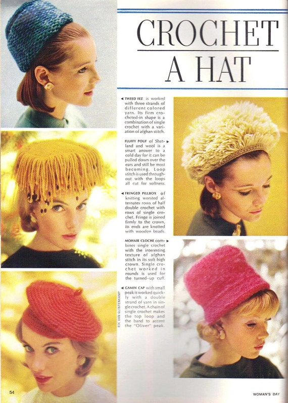 Vintage Knitting Crochet Hats Pattern for Making Hats Unusual Styles 1960s How To Instructions