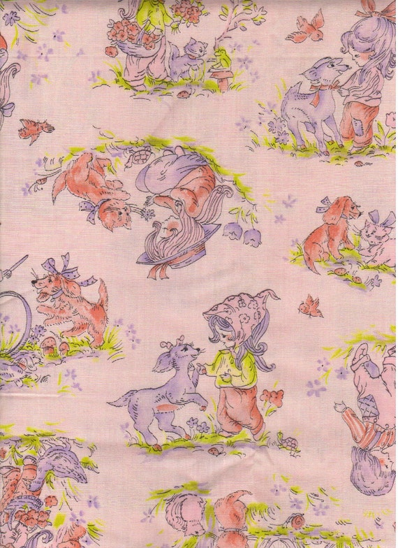 Sewing fabric retro material vintage pink by for Retro baby fabric