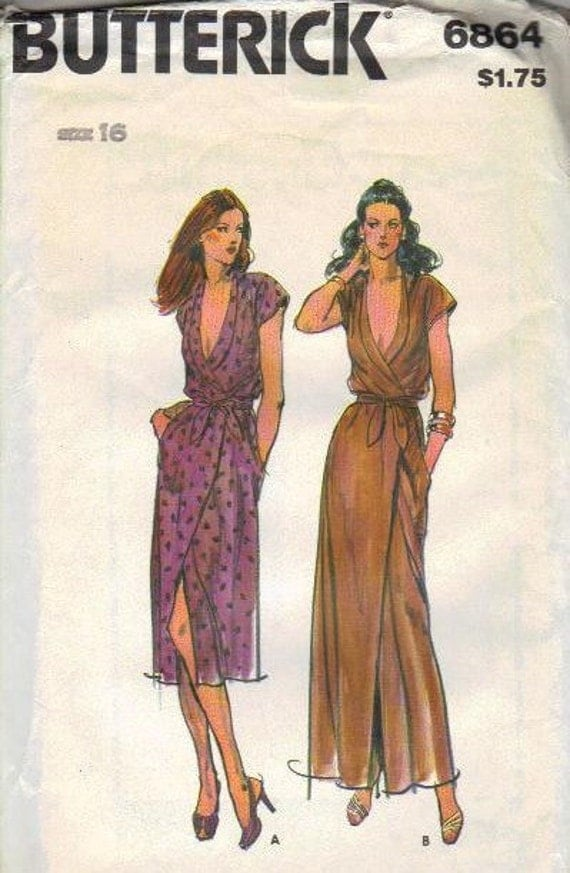 70s Classic Disco Style Wrap Dress Butterick Sewing Pattern Size 16 Bust 38 Waist 30 Hip 40