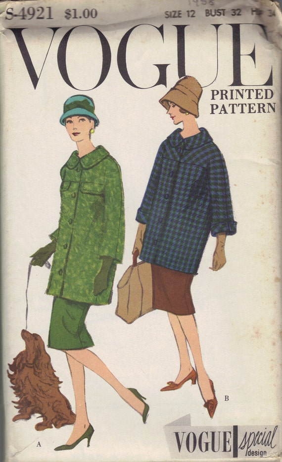 1950s Vogue Special Design Sewing Pattern Women's Button Front Coat and Slim Fit Skirt Bust 32 Hip 34